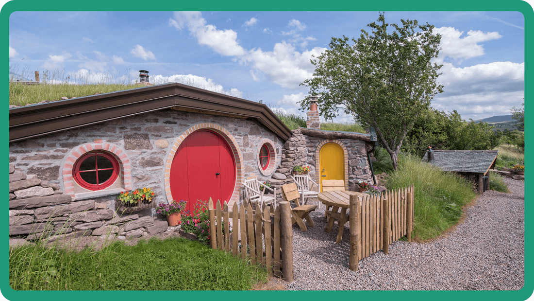 Glamping Hobbit hole with red door
